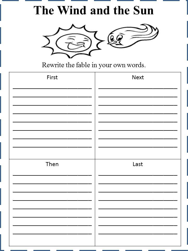 The Wind And The Sun Fable Worksheet Reading Close