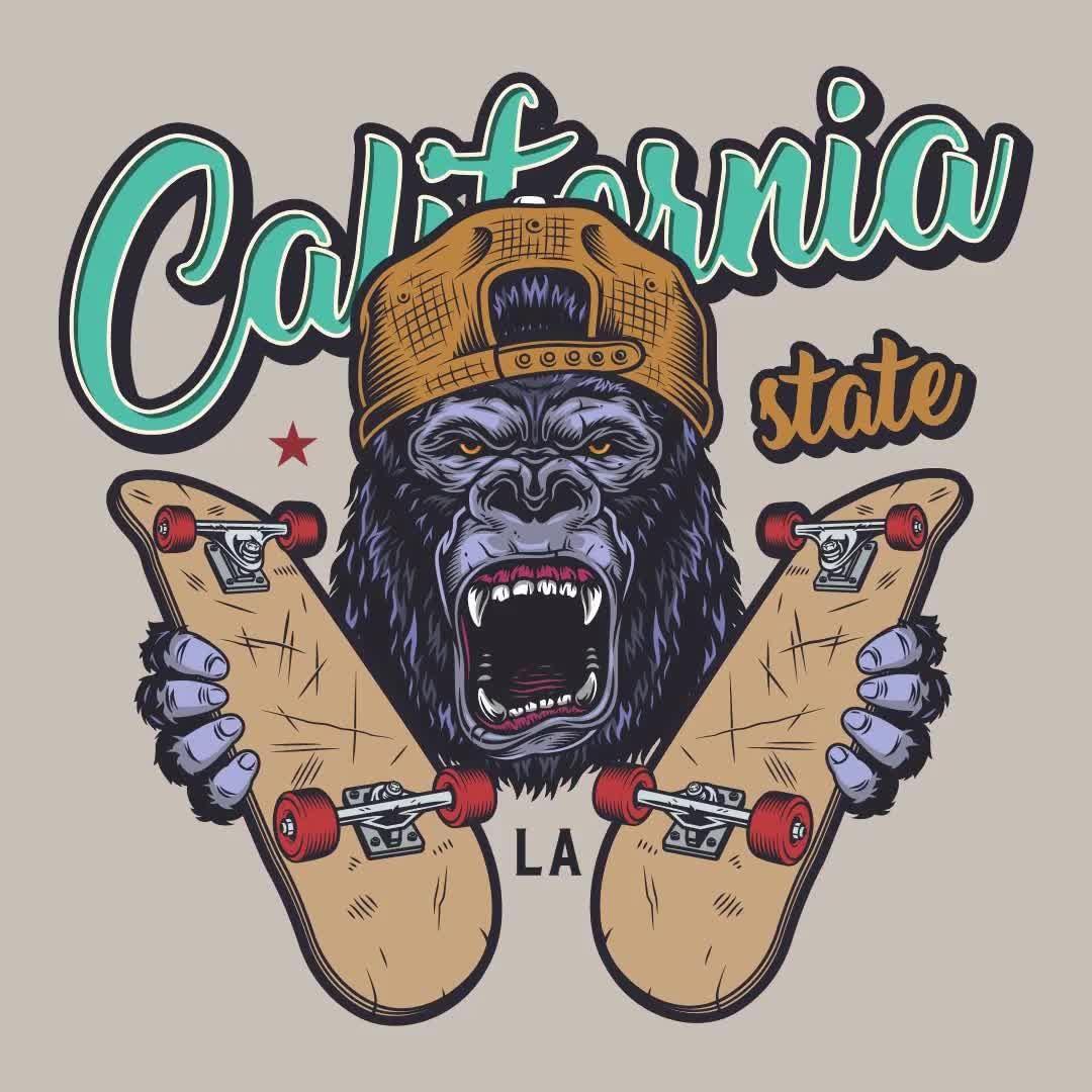 Gorilla with skateboards