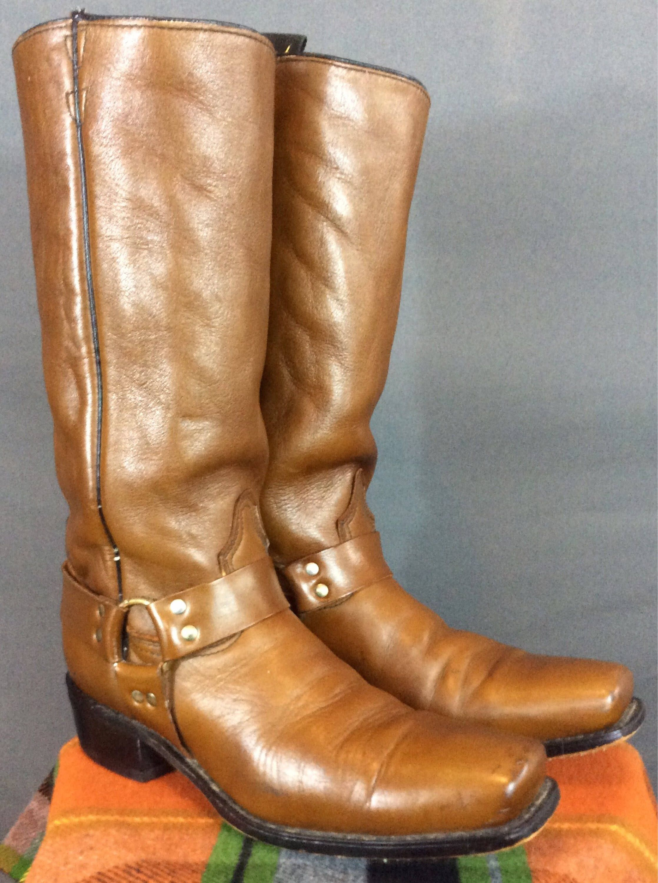 82f15c1427198 Vintage 70's Biker Boots Vintage Motorcycle Boots Harness Boots ...