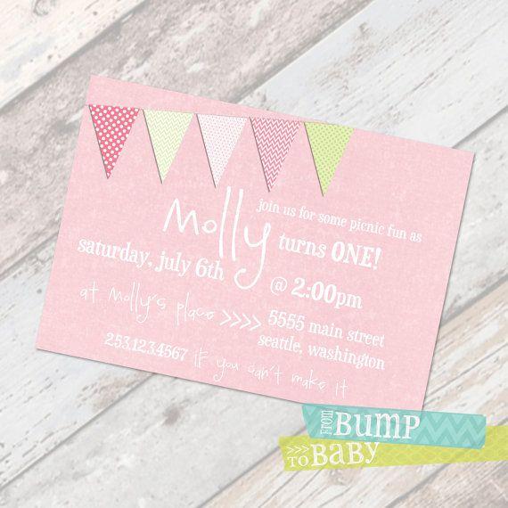 Pink and Lime Pennant Girl  - DIGITAL Custom First Birthday Invitation