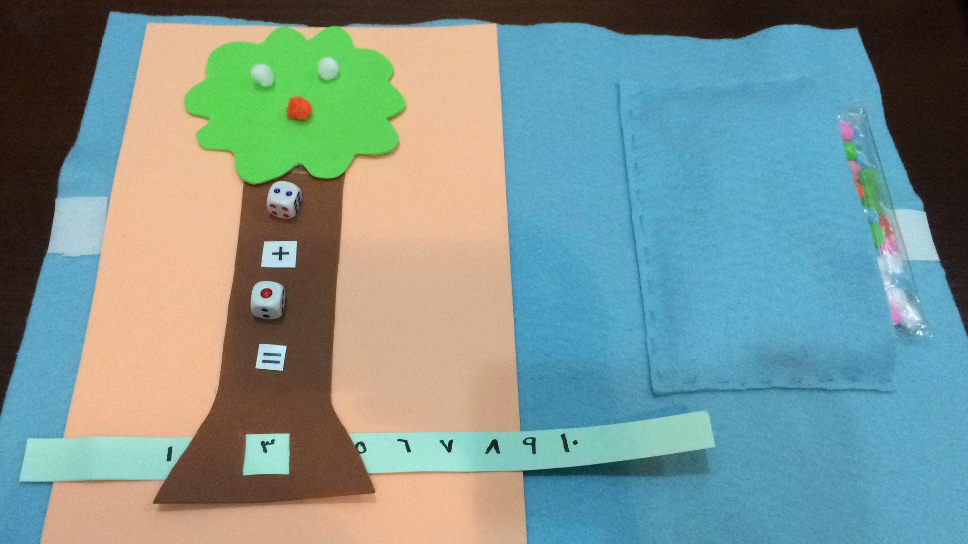 شجرة النرد الوسيلة الإدراكية الهدف منها تنمية المجال الإدراكي عن الطفل و العضلات الدقيقة طريقة استخدامها يقوم الطفل برمي قطعة النرد في المربع الأعلى ثم يرم