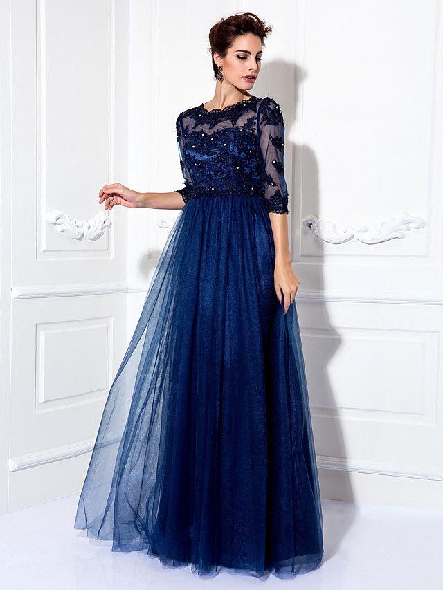 Formal Evening/Prom/Military Ball Dress - Dark Navy Plus ...