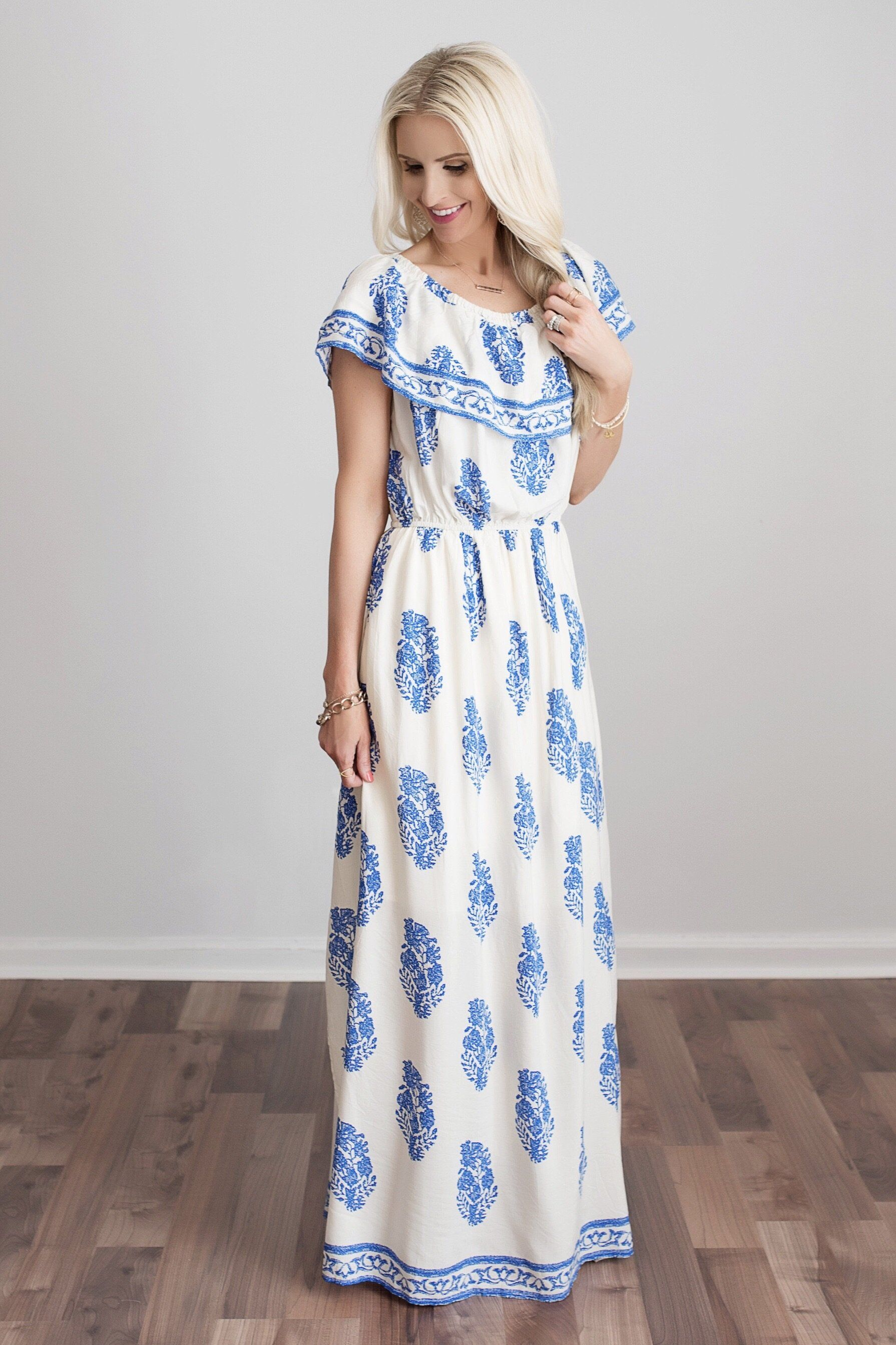 61b8ee4b294 Shannon Ivory and Blue Floral Maxi