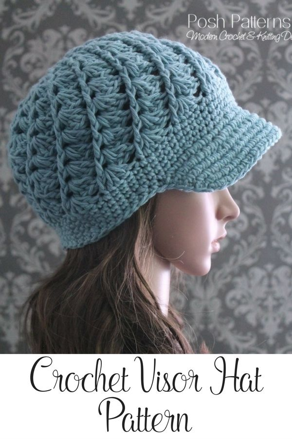 Crochet Pattern - This incredibly elegant crochet visor hat pattern ...