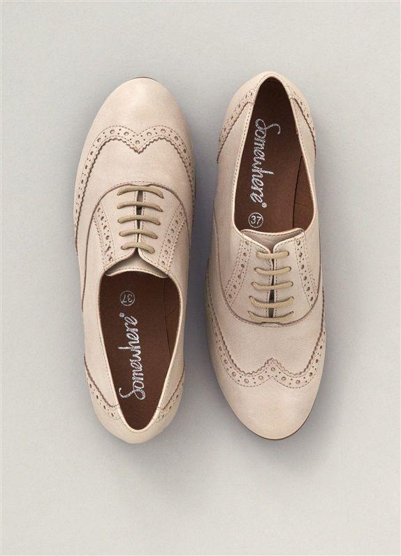 2752fc8e9ceafb DERBIES FEMME CUIR LISSE, 'BLYES' BEIGE | chaussures | Derbies femme ...