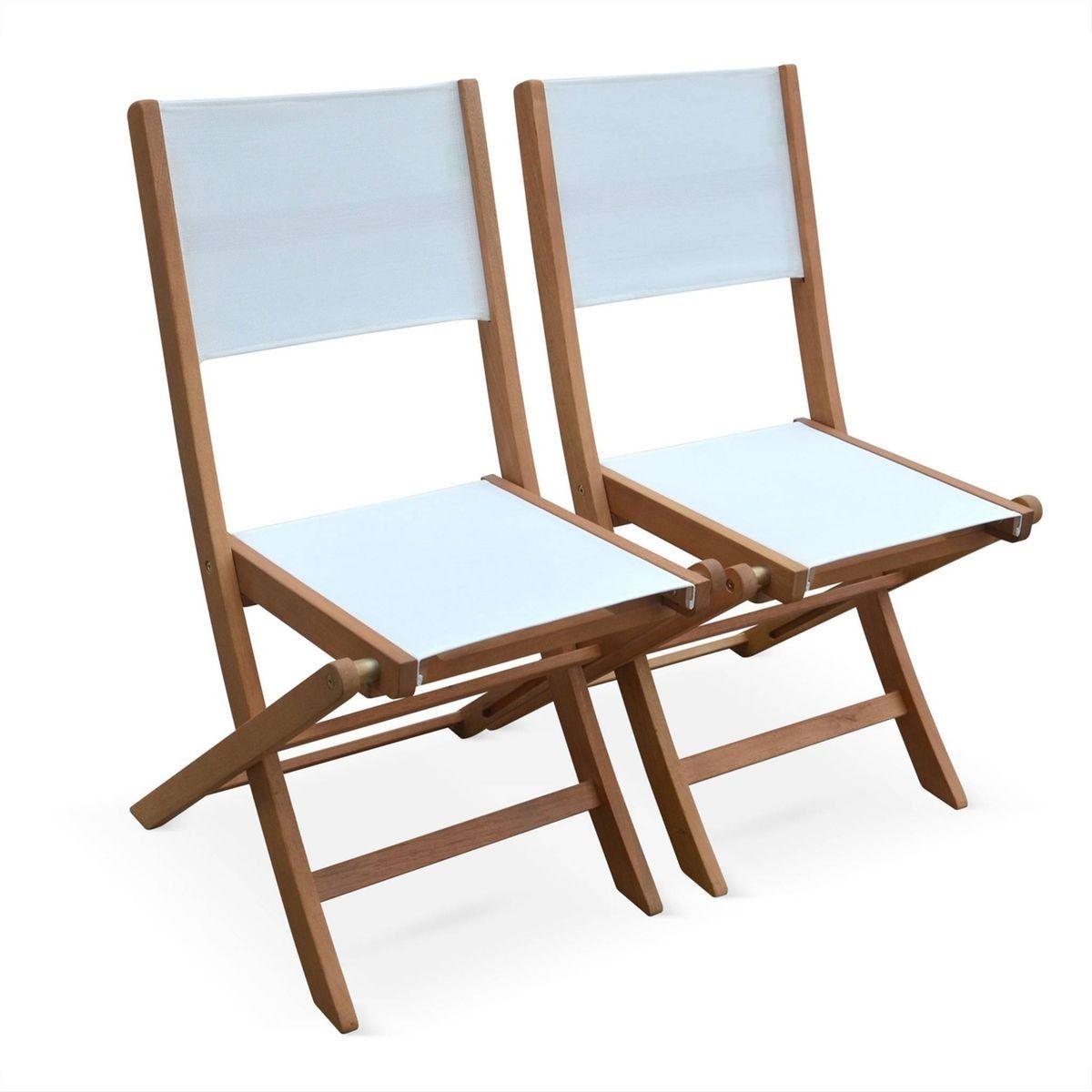Lot De 2 Chaises De Jardin En Bois Almeria 2 Chaises Pliantes Eucalyptus Fsc Huile Et Textilene Blanc Products Outdoor Chairs Folding Chair Et Outdoor De