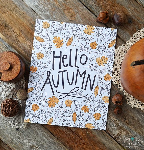 Items similar to Fall Art, Fall decor, Hello Autumn, Happy Fall, Seasonal Decor, Give Thanks, Illustration, Thanksgiving, Autumn Leaves, Fall Decoration on Etsy