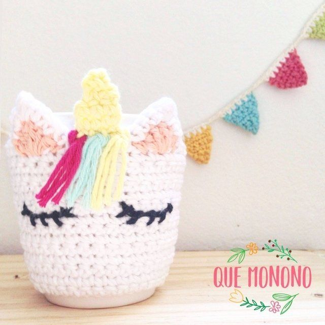 Taza unicornio | tejido | Crochet, Crochet phone cases y Knitting