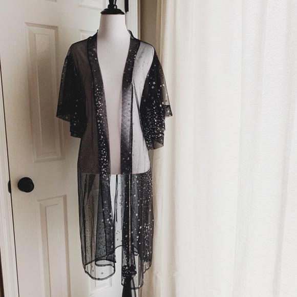 Black Sheer Duster with Silver Stars NWOT | Silver stars