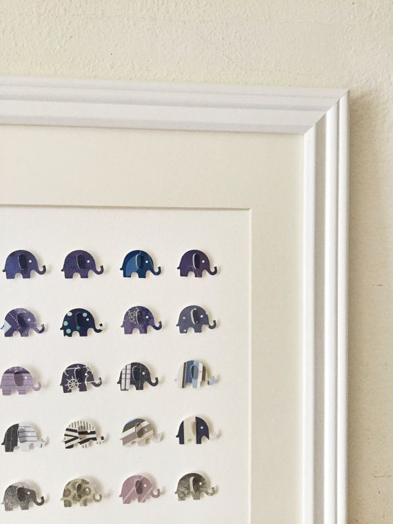 3D Elephant Wall Art /// 14in x 18 in // Matted by OllieandPenny