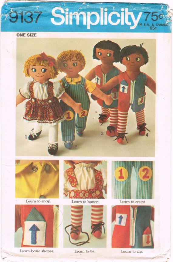 Simplicity 9137 - Vintage 1970s Sewing Pattern - Set Of Rag Dolls ...