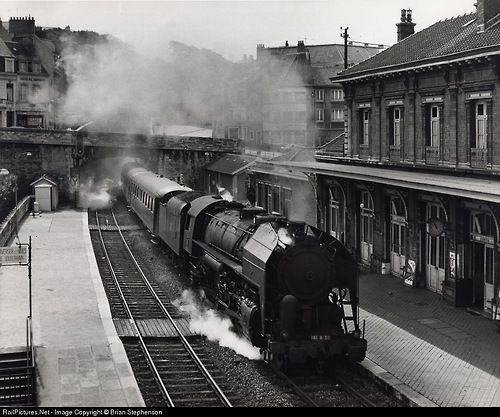 SNCF 2-8-2 No 141R 50, built by Lima (Ohio) in 1946, blasts...