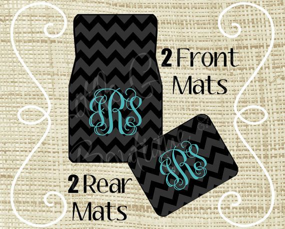 chevron car floor mats.  Mats Custom Personalized Set Of Car Floor Mats  Front And Or Rear Back  Monogrammed Mats Chevron Black Tiffany Blue For