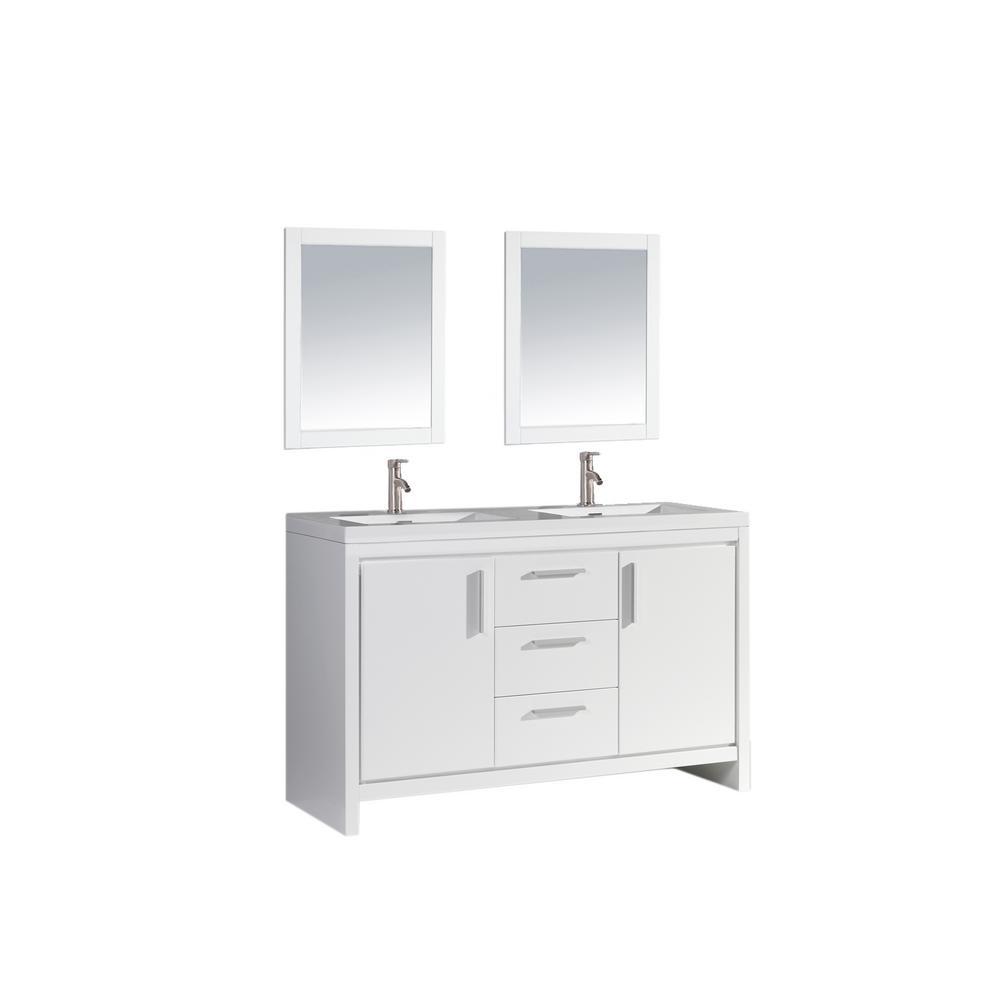 Mtd Vanities Miami 60 In W X 19 5 In D X 36 In H Vanity In White With Acrylic Vanity Top In White With White Basins Mtd Mi60w The Home Depot Bathroom