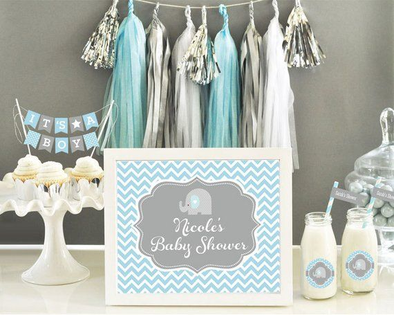 Elephant Baby Shower Centerpiece Sign Blue Elephant Baby Shower