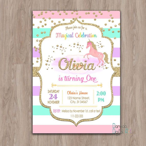Unicorn Birthday Invitation Invites First 1st Girl Gold Glitter Rainbows Party Digital Printable
