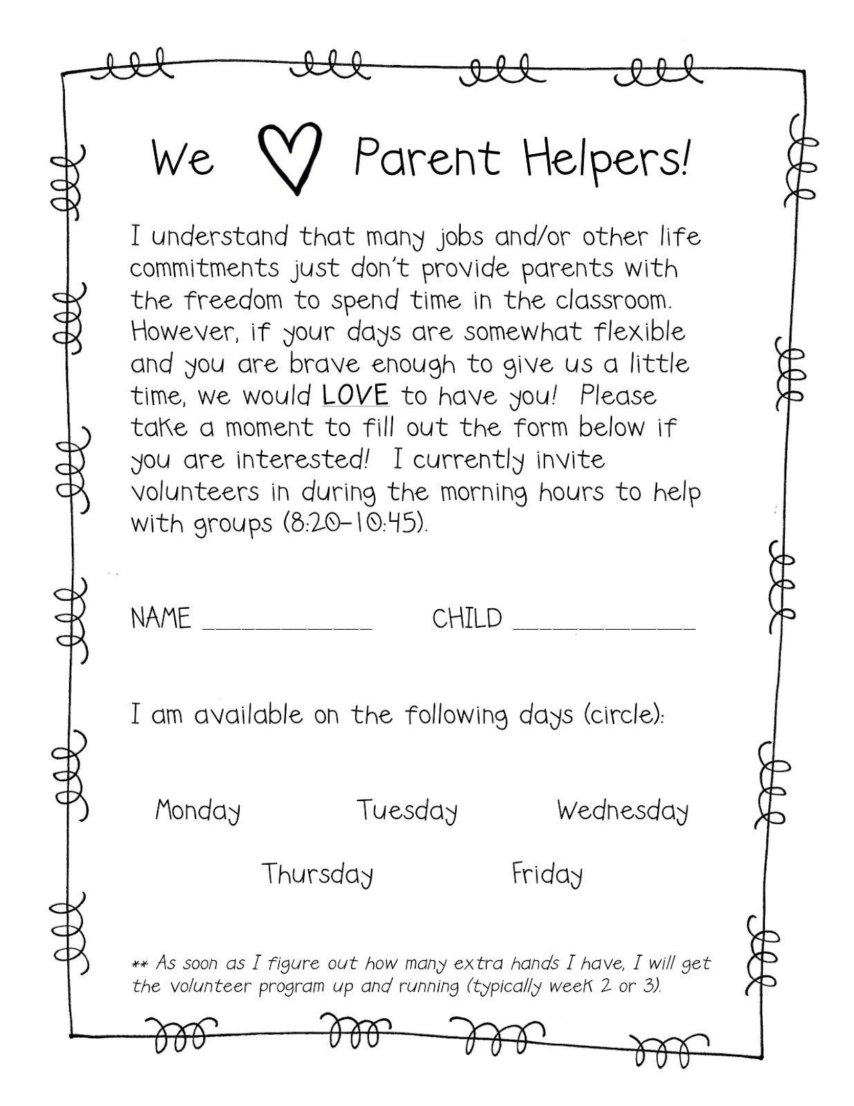 Parent/Back to School Form Ideas Letter to parents