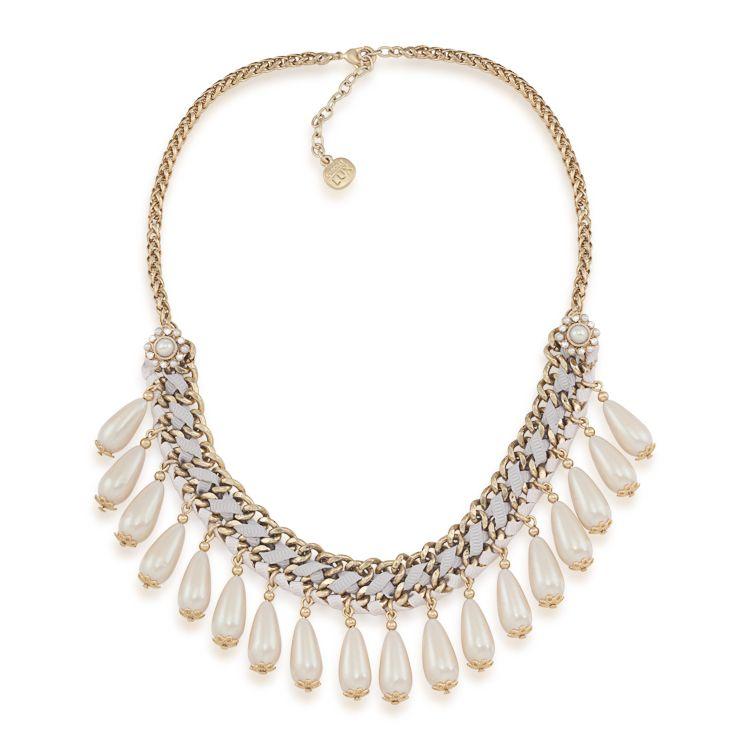 Antique Lace Pearl Drop Bib Necklace