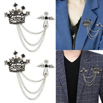 46918da49522 Crystal Chain Tassels Suit Brooch Lapel Pin Neck Collar Tip Men Shirt Pin  Alloy   eBay