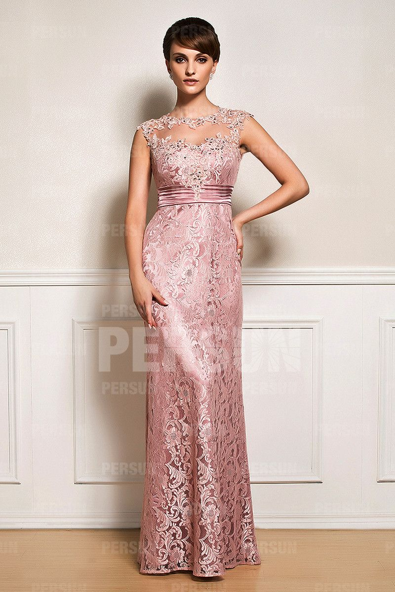 Pink tone Mother dress in Lace with illusion neckline [WMDA0024 ...