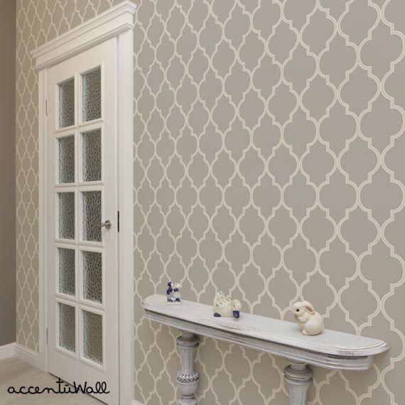 Moroccan Warm Grey Peel Stick Fabric Wallpaper Repositionable Moroccan Wallpaper Fabric Wallpaper Warm Grey