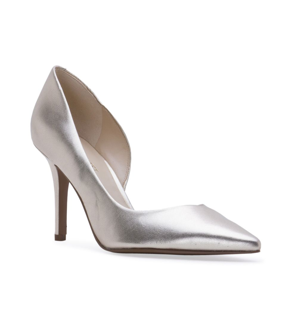 "Women's NINE WEST Jowzer Toe Pumps - Light Gold - Elegant yet chic pointed toe d'Orsay pumps for every occasion. - Features: Leather upper - Padded footbed for all-day comfort - 3 1/2"" high heels."