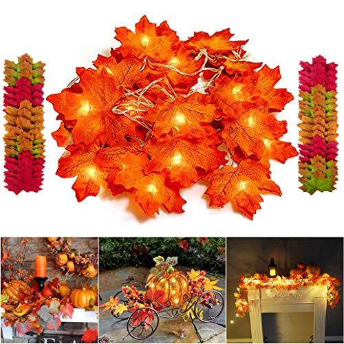 Bassion Thanksgiving Decorations Lighted Fall Garland String Lights for Indoor Outdoor Home A…