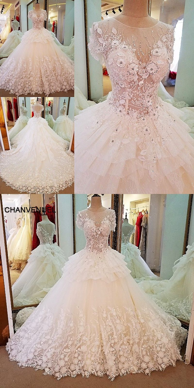 LS36751 short sleeve lace wedding gowns ball gown lace up back 3D ...