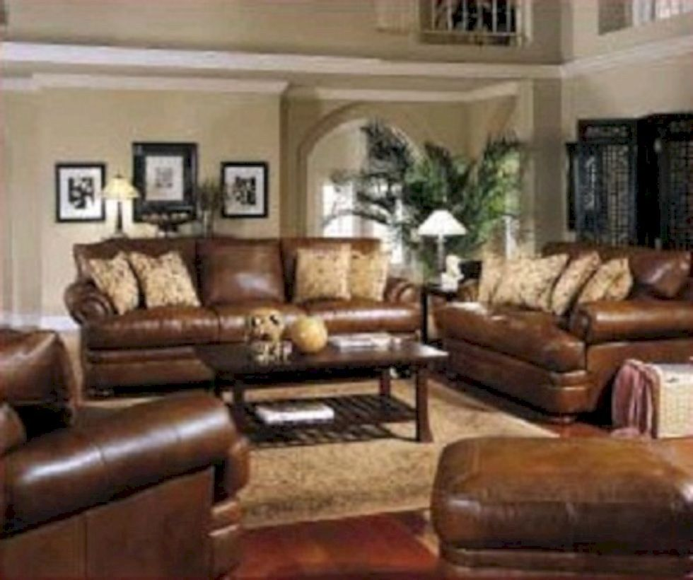 stunning brown leather living room furniture ideas 30