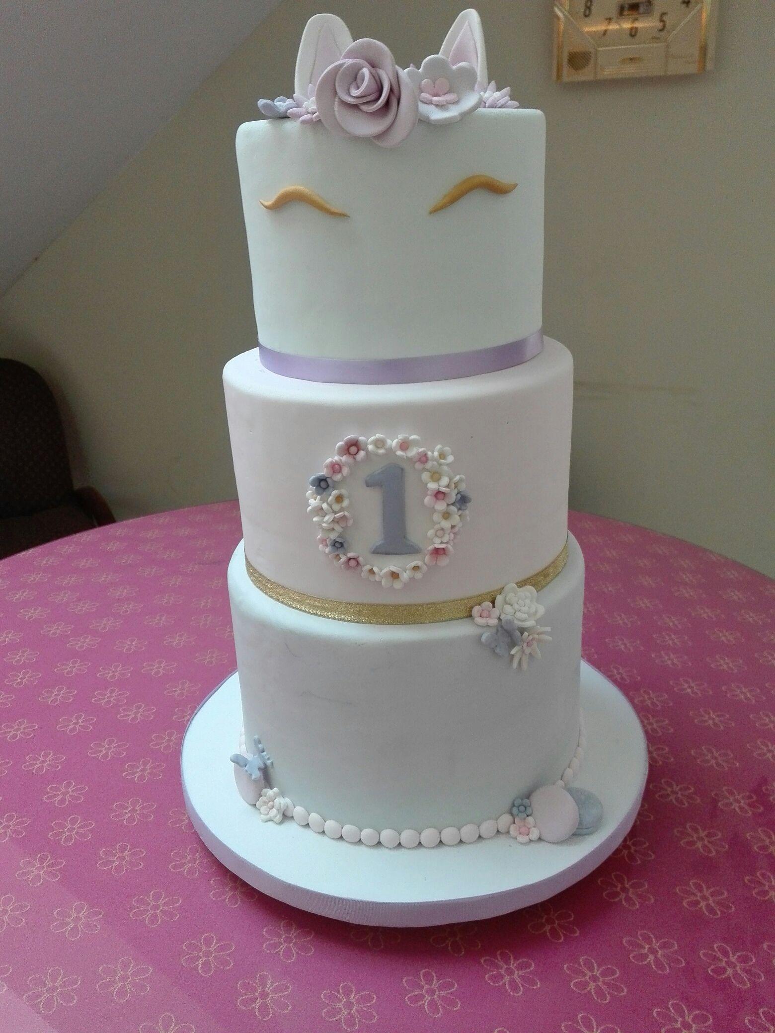 Unicorn Fondant Cake For My Granddaughter Olivia On Her 1st Birthday