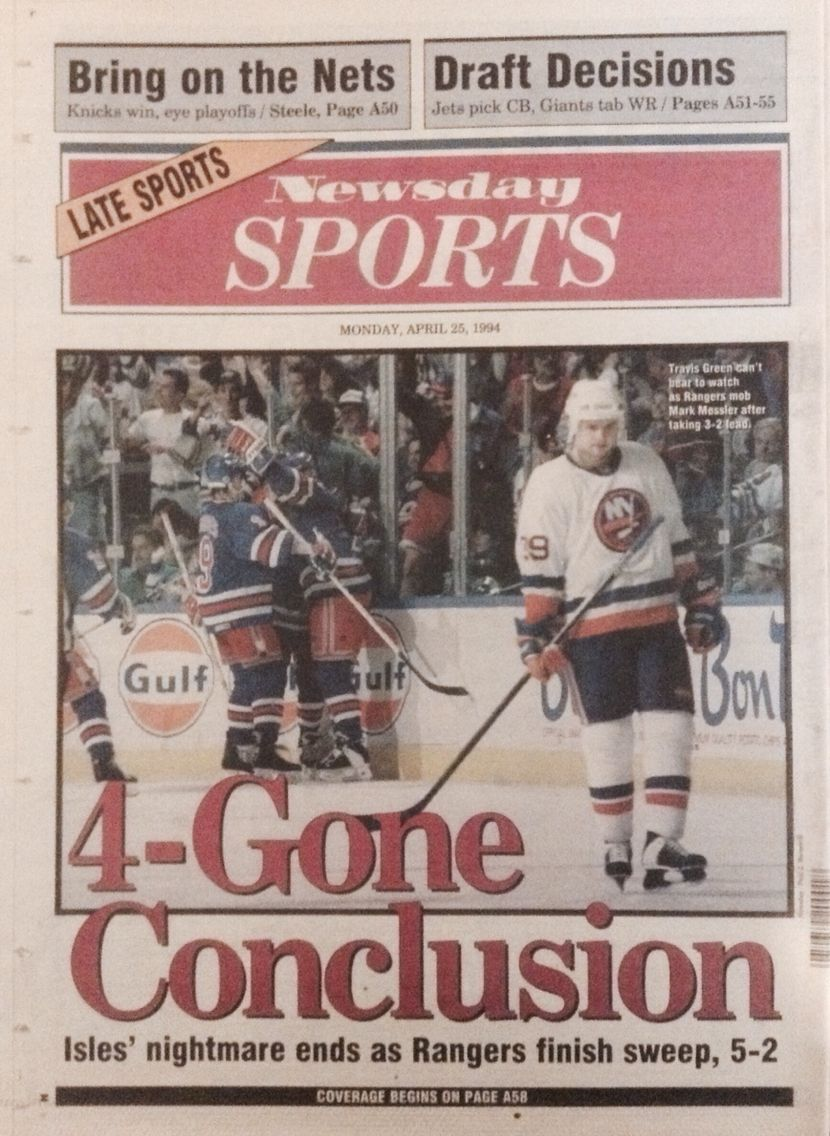 Newsday back cover after #NYR take game 4 from the Islanders