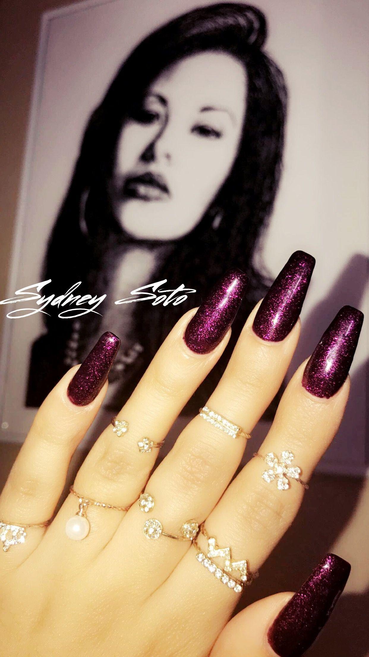 Anything for selenas dark purple glitter acrylic nails