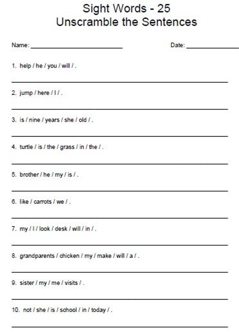 Unscramble Sentences Worksheets For Kindergarten
