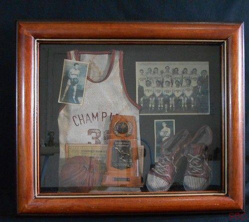 Vtg Sports Memorabilia Shadow Box Basketball Home Decor