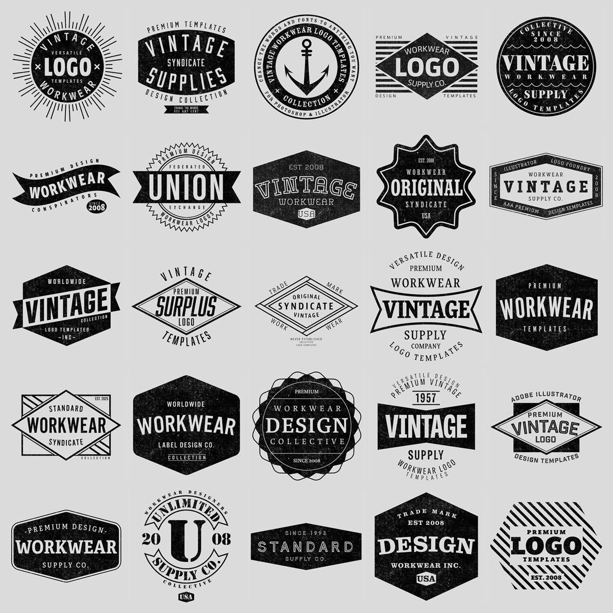 Vintage Workwear Logo Templates Shirt Logo Design Logo Templates Logo Design