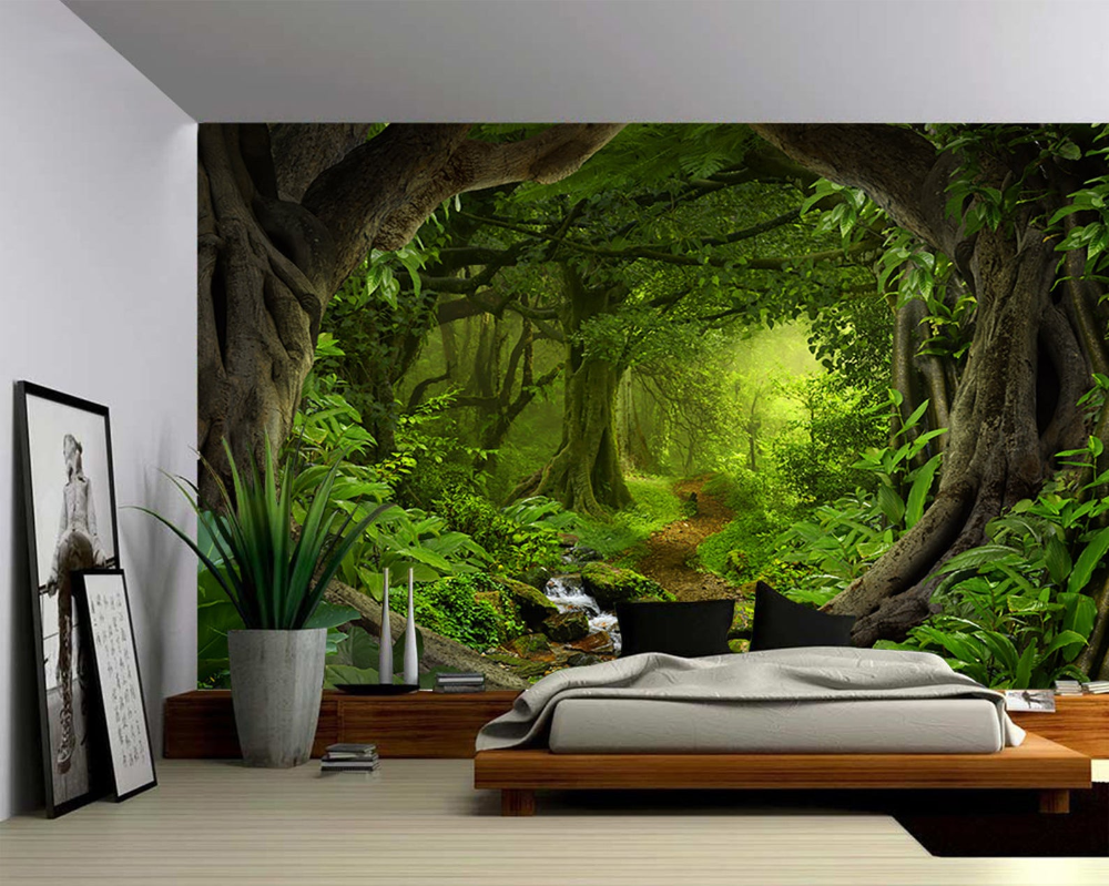 Wall Mural Trees in the Forest Viewed through a Broken Wall wall26 100x144