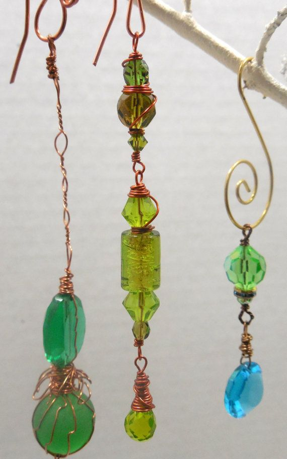 Vintage Green Crystal Beaded Suncatcher wire wrapped in copper wire ...