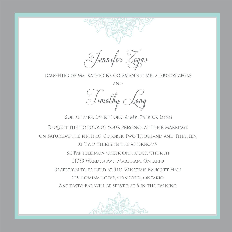 Printable Wedding Invitation - Wedding invitation template- Teal ...