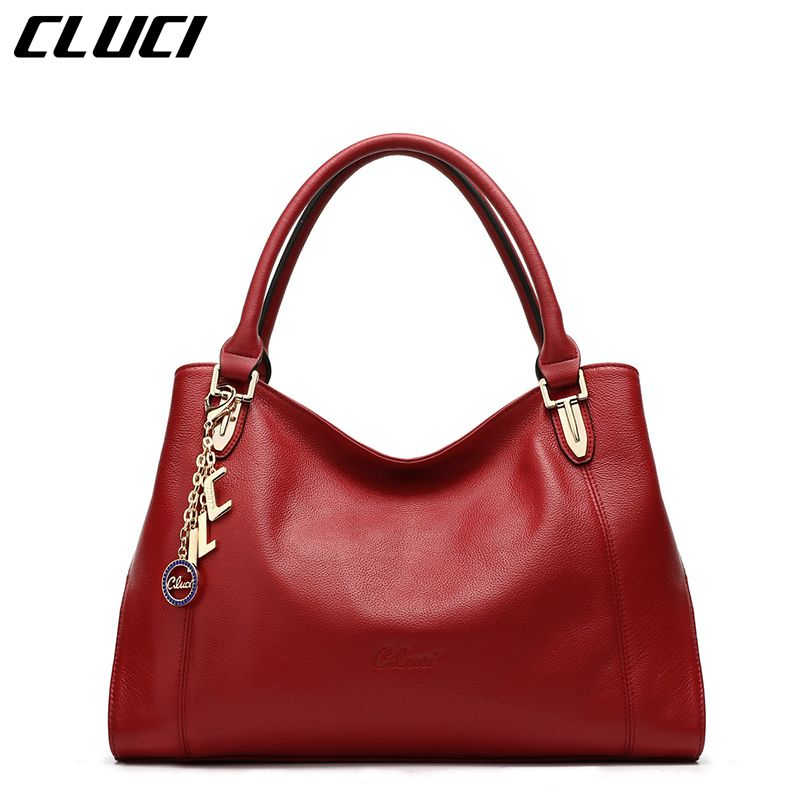 CLUCI Women s Handbags Luxury Real Genuine Leather Black Red Tote Bags  Designer Women Handbags Shoulder Crossbody Bag Soft 0872adf14f