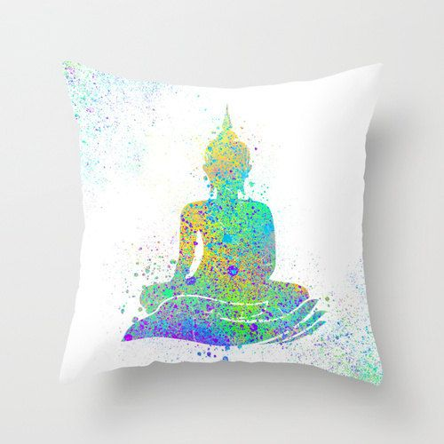 Buddha Throw Pillow Watercolor Buddha Art Painting Yoga Meditation Cool Buddha Decorative Pillows