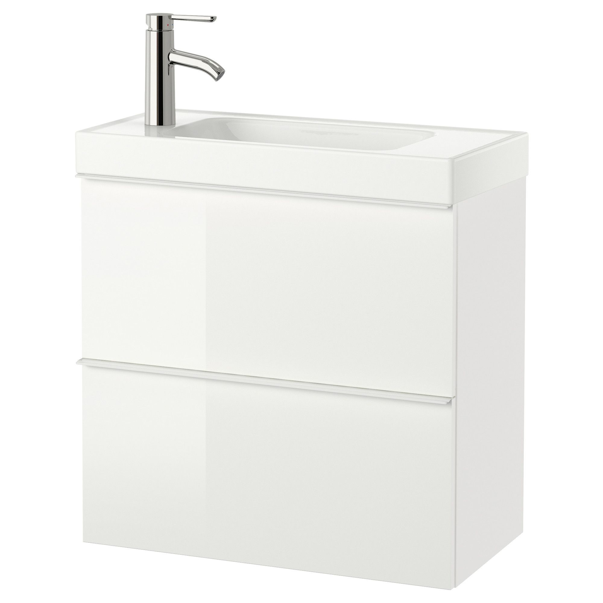 brÅviken/godmorgon meuble lavabo 2tir brillant blanc 60x34x65 cm