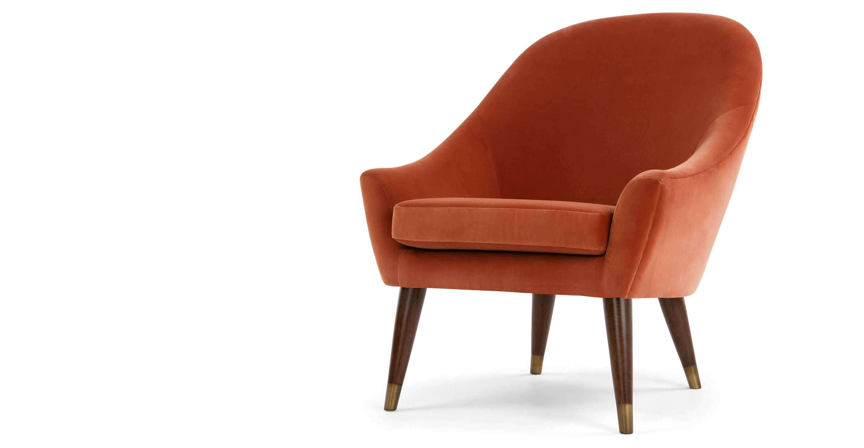 Great Seattle Armchair, Burnt Orange Cotton Velvet