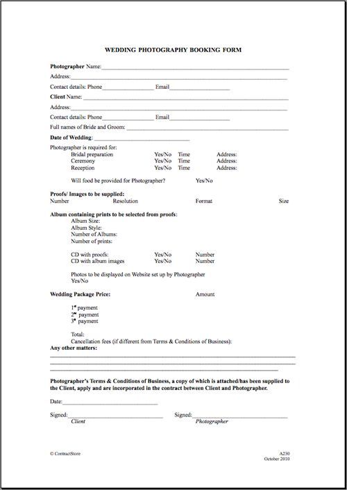 Printable Sample Wedding Photography Contract Template Form - sample advertising contract template