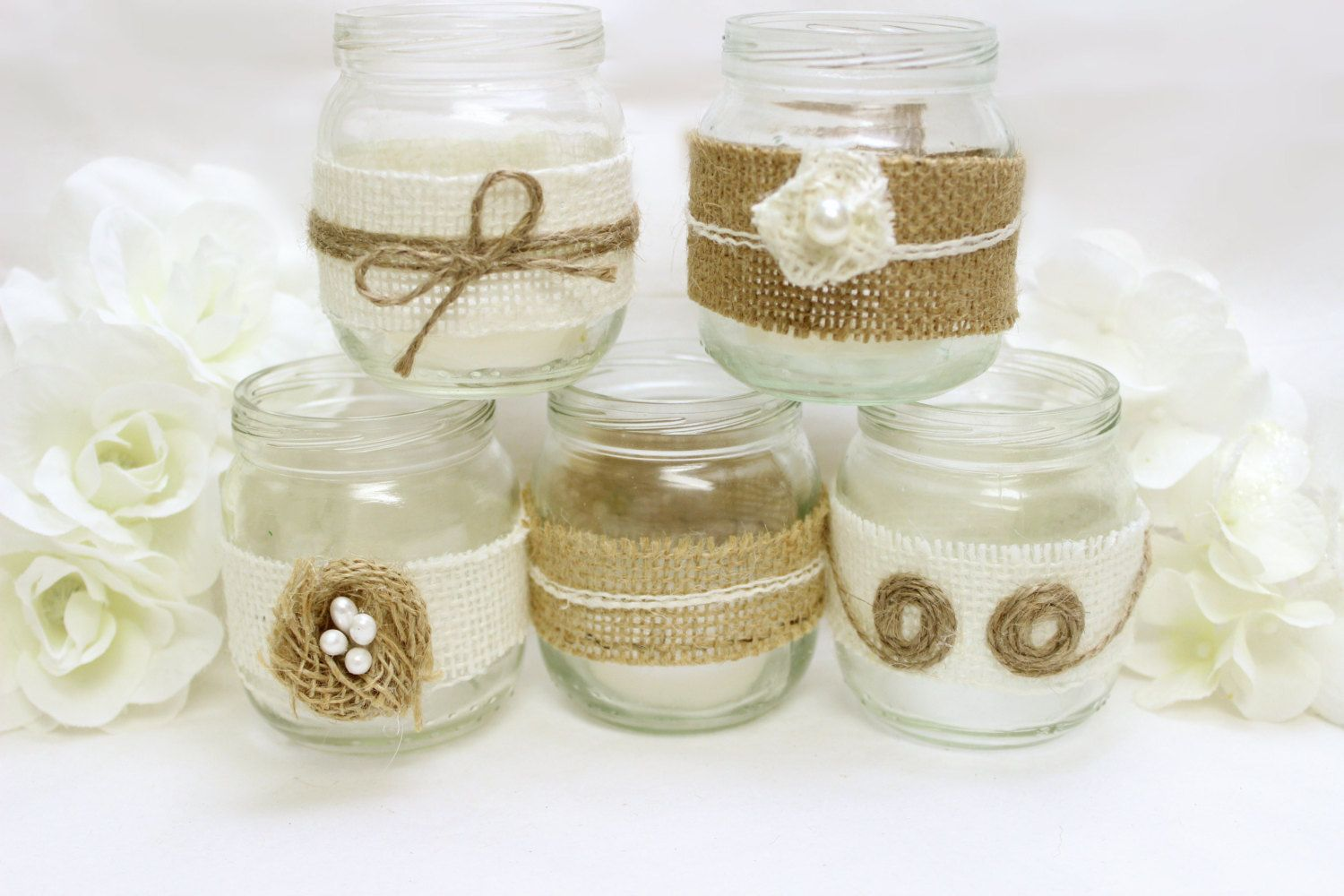 Burlap Mason Jar Western Wedding Decorations - Burlap flowers tea ...