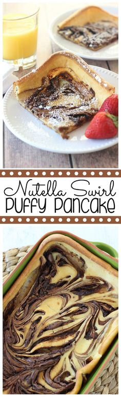 Nutella Swirl Puffy Pancake - Super easy oven-baked pancake - Diary of A Recipe Collector