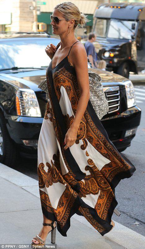 Heidi Klum floats around New York in patterned dress as it