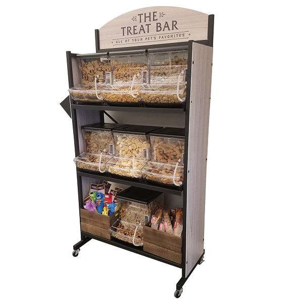 This versatile bulk dog treat display is perfect for