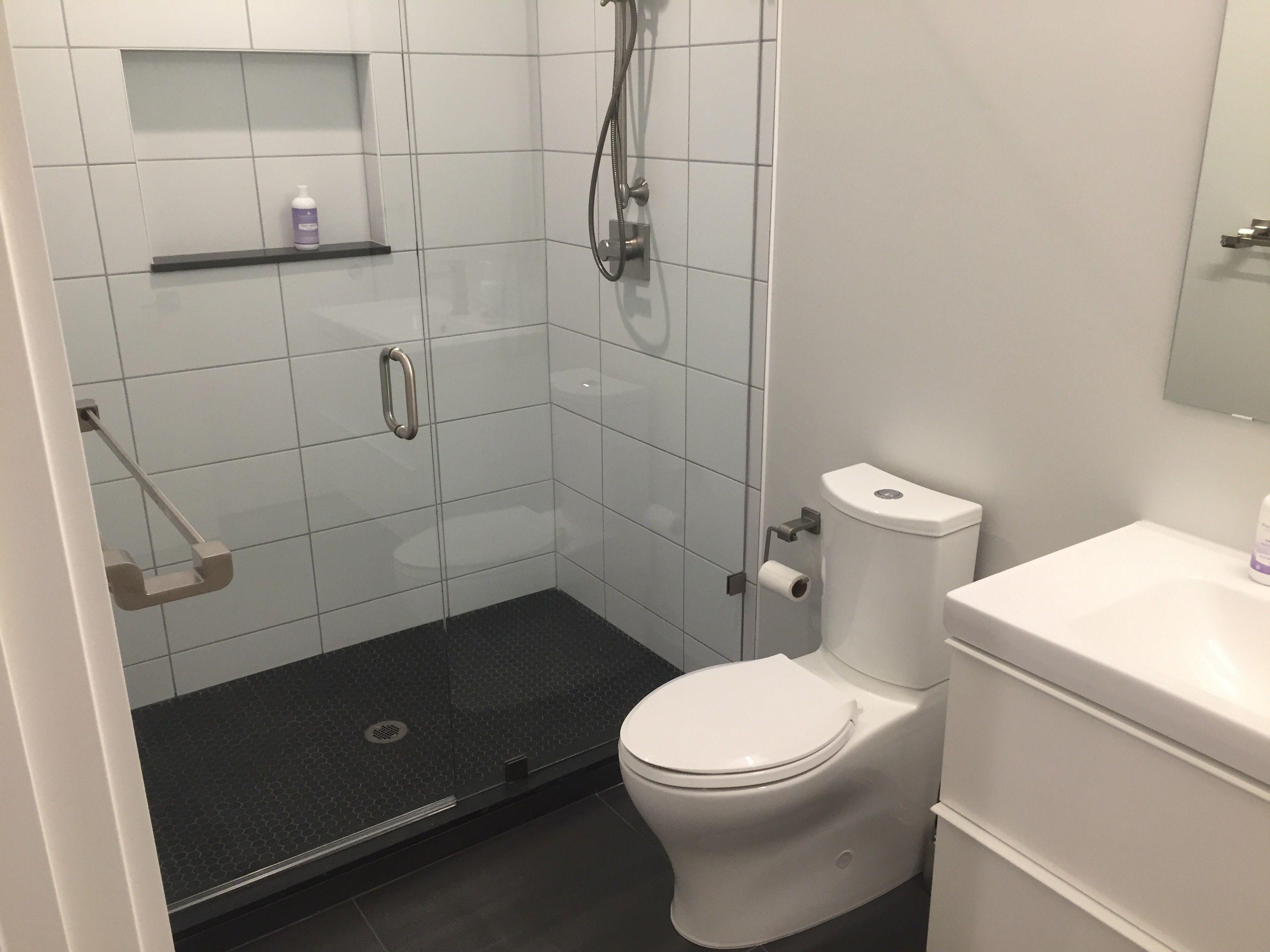 12x24 Iki Floor Tile 10x18 Ice White Wall Tile Black Hexagon Shower Pan White Wall Tiles Shower Pan White Walls