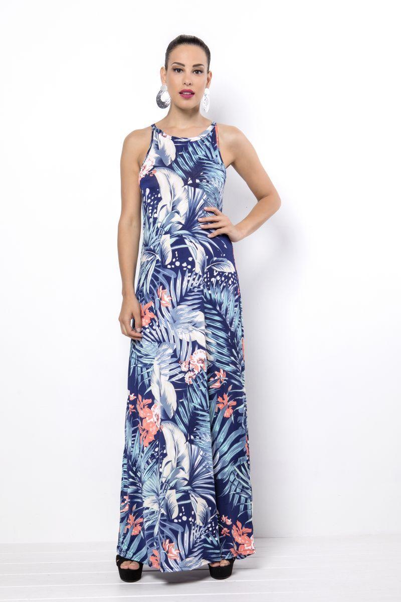 36b7ccabd2d Φόρεμα maxi εμπριμέ αμάνικο -Πολύ καλή εφαρμογή -Χωρίς σκίσιμο στο ...