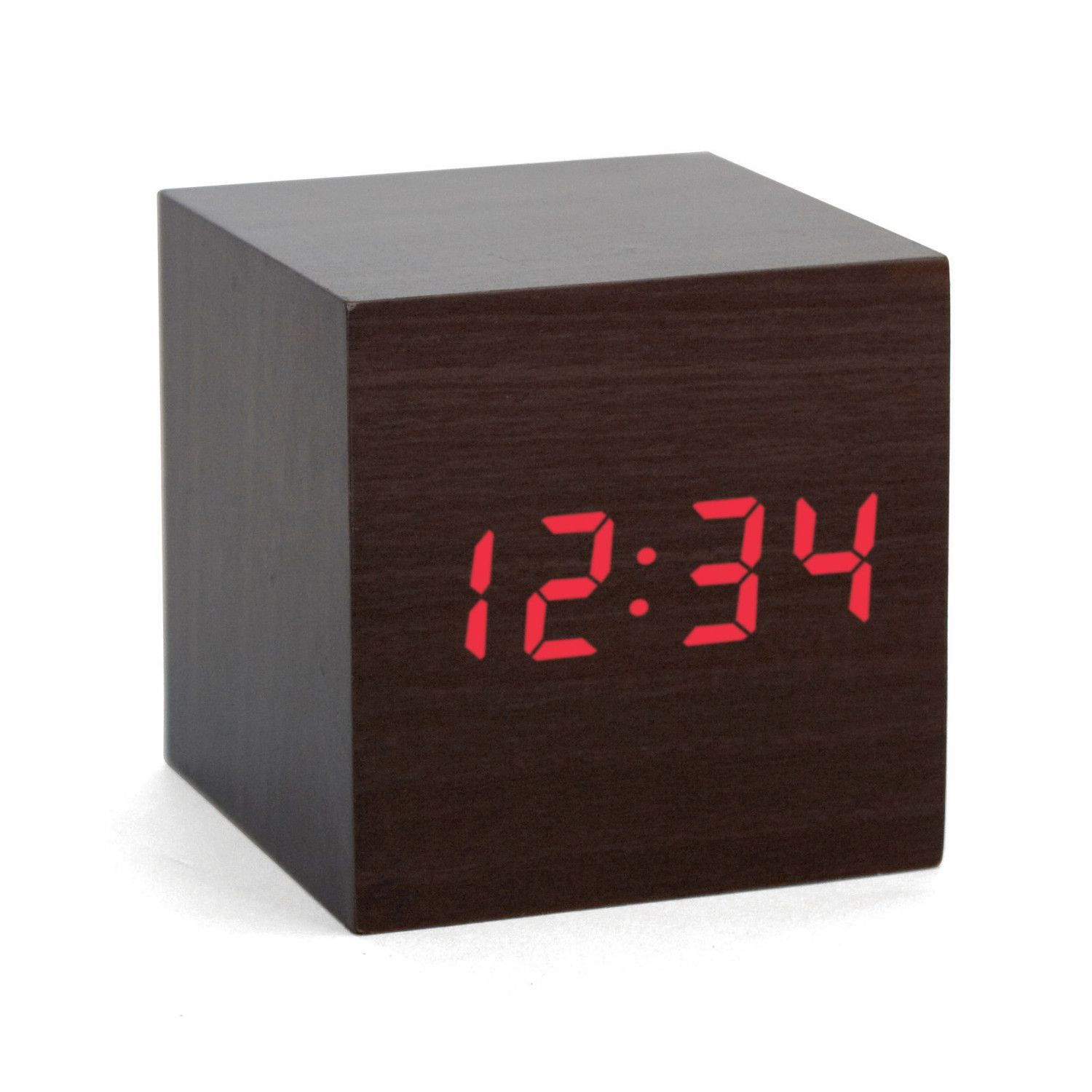 A dark wood veneer body with red LED digital time display- just clap your hands to make the red LED time appear or disappear